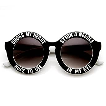 zeroUV - Womens Oversized Cross My Heart Text Font Round Sunglasses (White)