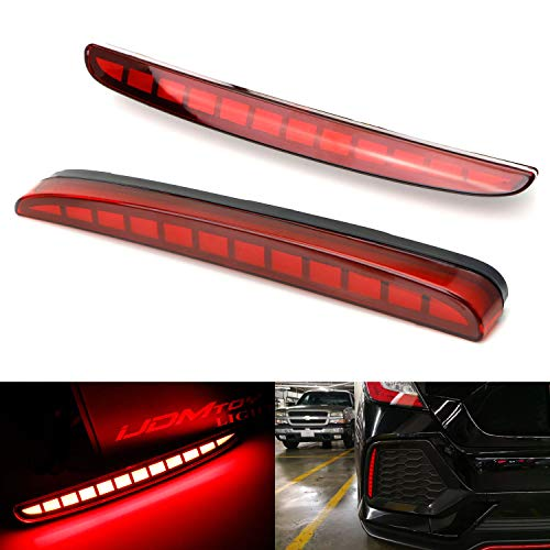 (iJDMTOY Red Lens Full LED Bumper Reflector Lights For 2017-up Honda Civic Hatchback, Type-R or SI 4-Door Sedan, Function as Tail, Brake & Rear Fog Lamps)
