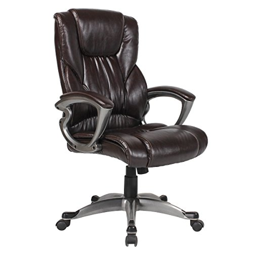 YAMASORO Ergonomic PU Leather Executive Office Desk Chair High-Back Computer Gaming with Back Support (Dark brown) (Highback Breeze Chair)