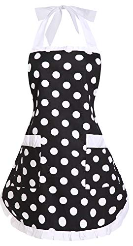 (Ehcojdeb Adjustable Polka Dot Cotton Kitchen Aprons with Pockets Lovely Retro Cute Cooking Aprons Pinafore Aprons for Women Girls Black (White))