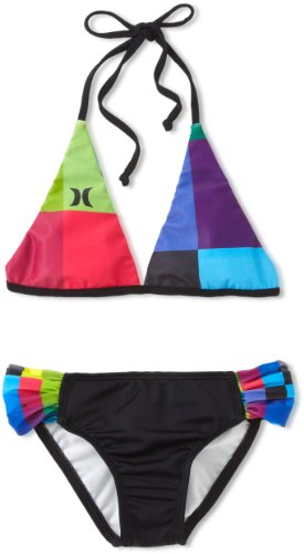 Hurley Big Girls'  Kings Road Rev Halter and Tab Side Swimwear, Pink, 14