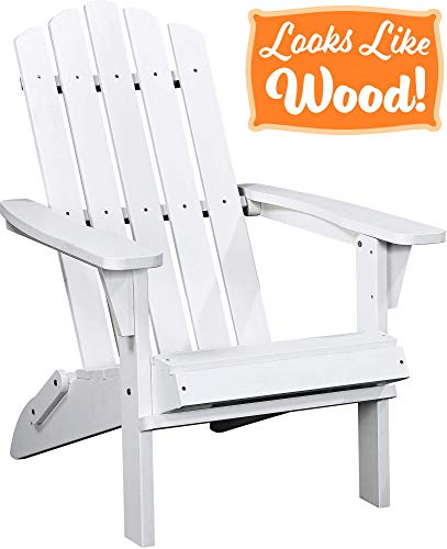 PolyTEAK Classic Full-Size Folding Adirondack Chair, Powder White - Looks Like Wood | All Weather Waterproof Material | Poly Resin Plastic Adirondack | Foldable Patio Chair | Feels Like Teak