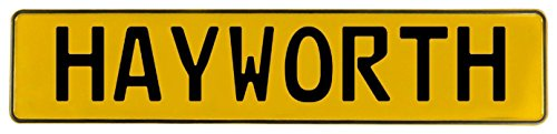 Hayworth Accent - Vintage Parts 655351 Hayworth Yellow Stamped Aluminum Street Sign Mancave Wall Art