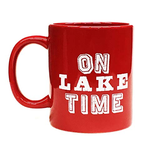 Lake House Coffee Mug- On Lake Time - Red- 11 ounce