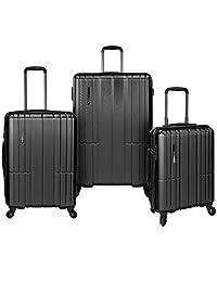 Traveler's Choice Wellington 3-Piece Hardside Spinner Luggage Set,Charcoal, One Size