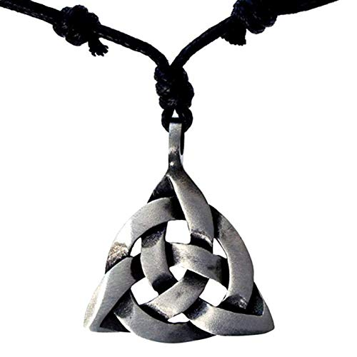 Pewter Pendant Cord Necklace - Odeal4U Celtic Celt Trinity Triquetra Charmed Knot Silver Pewter Pendant Necklace Charm Amulet (Black Adjustable Cord)