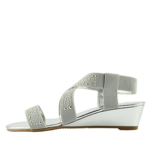 Kick Footwear Ladies Diamante Wedge Slip on Dressy Party Platform Sandals Silver skVC1