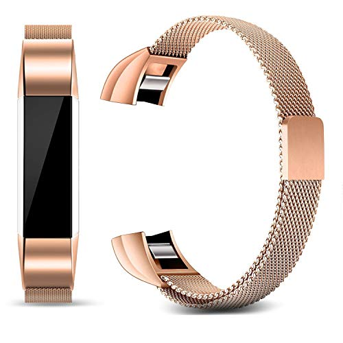 Konikit Bands Compatible Fitbit Alta/Alta HR/Ace, Milanese Loop Stainless Steel Metal Magnetic Replacement Accessories Bracelet Wristbands Small Large for Women Men, Silver, Rose Gold, Champagne ()