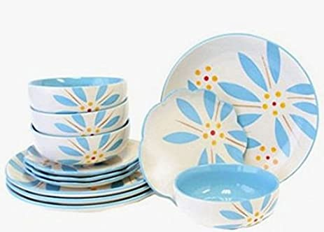 Temp-tations Hand Painted Stoneware 12-pc. Dinnerware Set - Vivid Old World  sc 1 st  Amazon.com & Amazon.com | Temp-tations Hand Painted Stoneware 12-pc. Dinnerware ...
