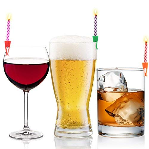 Candles for Drinks | 15 Colored Candles and Clips | Unique Happy Birthday Cake Candles with Holders for Women Men | Beer Wine Accessories 21st Birthday Gift for Her Him ()