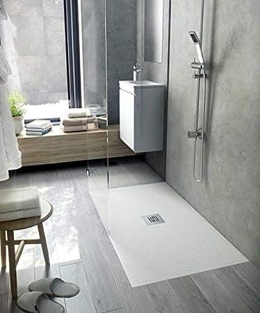 Bodengleiche Dusche 100x80 Mineralguss Essential Ablauf Zentral