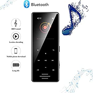 8G Bluetooth Mp3 Player 1.8 Inch Touch Screen Mp4 Capacitive Touch HiFi Lossless Sound Quality Built-in Speaker, Black