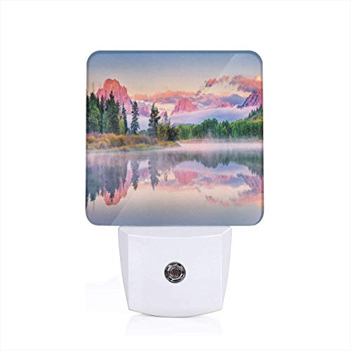 Colorful Plug in Night,Colorful Sunrise On Calm Water of Snake River with Sweet Tone Peaks and Clouds,Auto Sensor LED Dusk to Dawn Night Light Plug in Indoor for Childs Adults