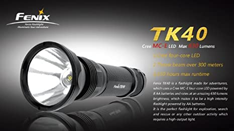 Fenix TK40 - Linterna (AA, Negro, 62 mm, 200 mm, 62 mm): Amazon.es: Iluminación