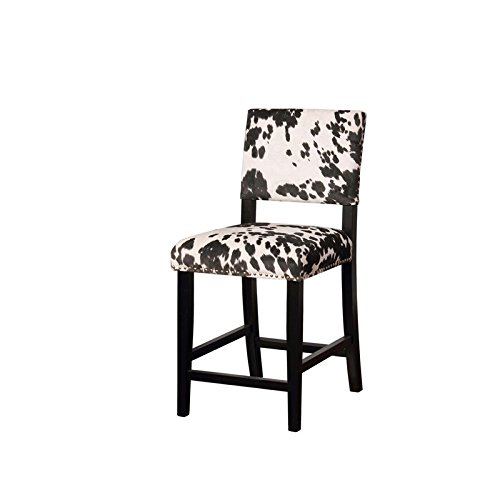 Riverbay Furniture Cow Print Counter Stool in Black (Cow Stools Bar)