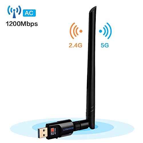 Wifi Adapter AC1200,USB 3.0 Wifi Dongle Dual Band 2.4G/5G Wireless Network Card with 5dBi High Gain Antenna for PC /Desktop/Laptop/Table Windows XP/2000/Vista/7/8/10,Mac OS