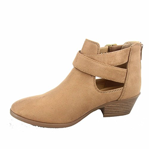 Tan Women's Ankle Buckle Western s Zipper Soda More Shoes Booties Heel Fashion Low 4n71qE
