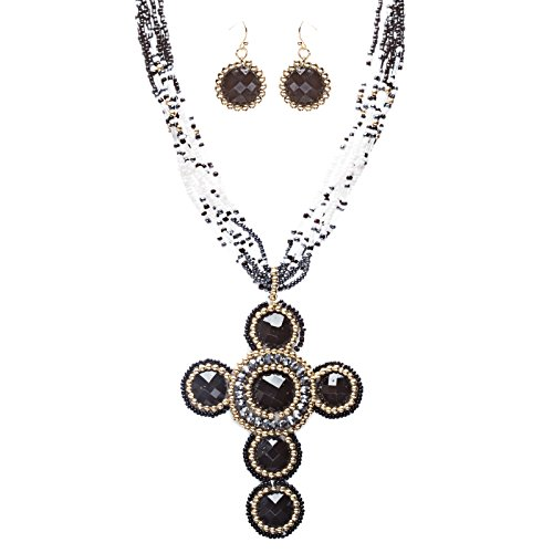 Cross Jewelry Traditional Design Beaded Necklace & Earrings Set JN245 Black by Accessoriesforever