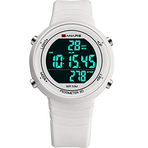 XBKPLO Digital Watch for Mens, Sport Multifunction Waterproof Pedometer Analog Wrist LED Luminous Alarm Clock Watches Concise Silicone Strap