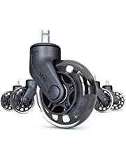 Rollerblade Office Chair Wheels (Set of 5) - Traditional Caster Wheels Replacement Set - Perfect Substitute for Office Chair Mat for Hardwood Floor - Rolls Smoothly & Quietly w/Universal Fit