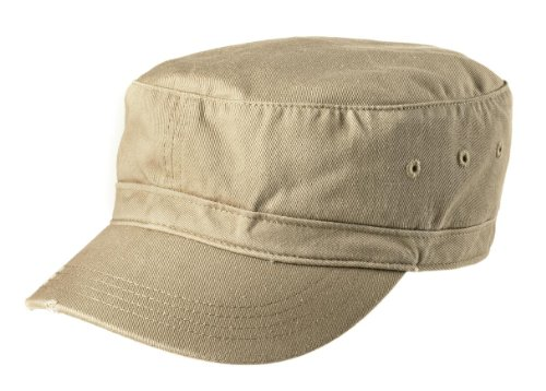 District Threads Distressed Military Hat - Khaki - One ()