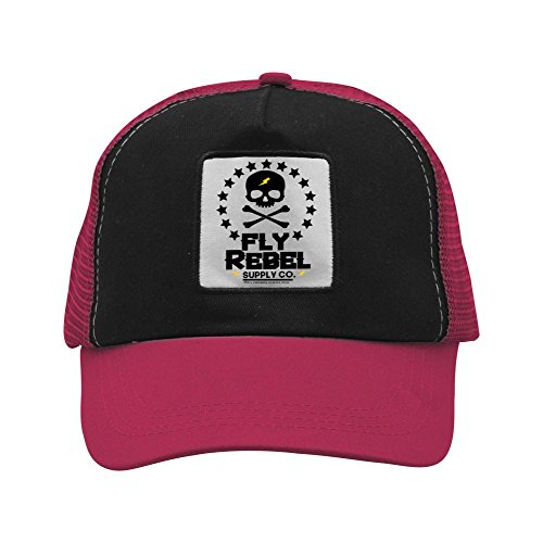 Fly Rebel Skull Edition Trucker Mesh Baseball Cap for Unisex Adult,Adjustable Snapback Golf Running Fishing (Rebel Flag Guitar)