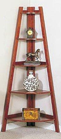 Cherry Finish 5 Tier Corner - 5-Tier Wooden Corner Bookshelf in Cherry Finished