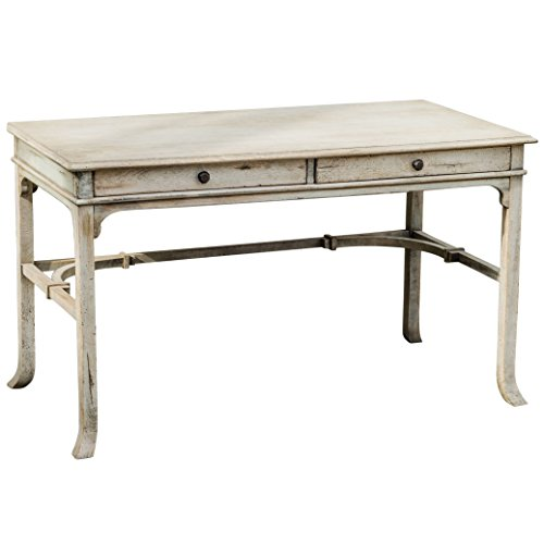 Kathy Kuo Home Candide French Country Antique White Wood Writing Desk