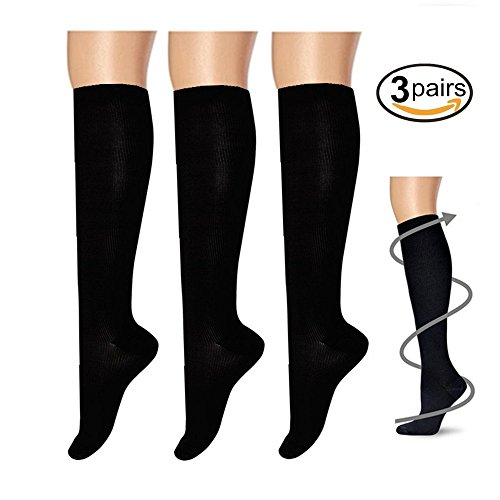 pairs), for Women & Men - Best For Running, Athletic Sports, Crossfit, Flight Travel - Suits Nurses, Maternity Pregnancy, Shin Splints - Below Knee High (XXL, Black) (Red Cross Nursing Shoes)