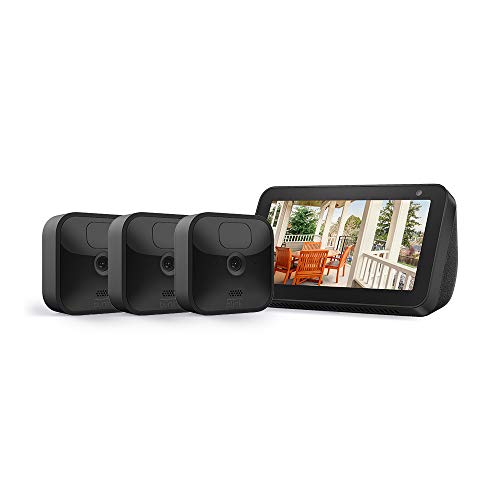 Echo Show 5 (Charcoal) with All-new Blink Outdoor- 3 camera kit