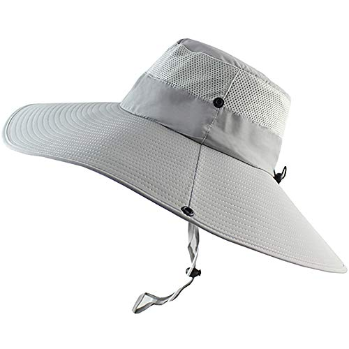 (Peicees Super Wide Brim Sun Hat, UPF 50+ UV Protecton Fishing Hat, Waterproof Bucket Hat, Summer Outdoor Safari Hat for Men Women Hiking Camping Hunting Adventure(Light Gray))
