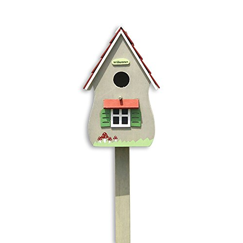 The Willkommen Birdhouse, Retro Hut-Style Garden Stake, Rustic Gray, Painted Details, Plywood, 6 L x 4 ¾ W x 45 ¼ H By Whole House - Hut College