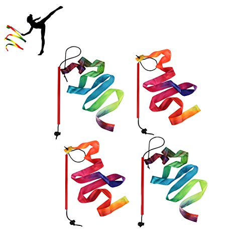 GEORLD Rainbow Dance Ribbons Streamers Rhythmic Gymnastic Ribbon Wands Rods, Baton Twirling, 4 Pieces -