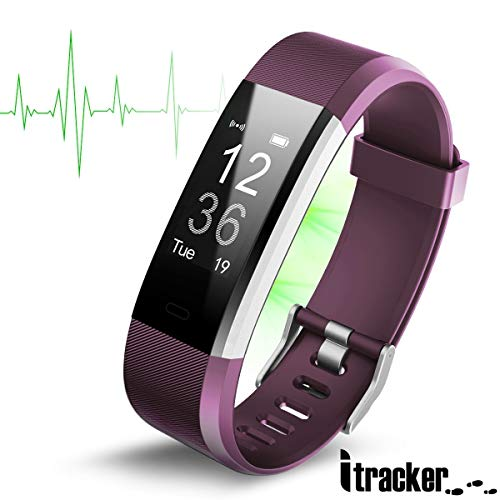 ITRACKER Fitness Tracker [2019], Activity Tracker Watch with Heart Rate Monitor, Waterproof Smart Bracelet with Step Counter, Calorie Counter, Pedometer Watch for Kids Women and Men (Purple)