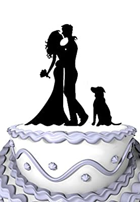 Meijiafei Kissing Bride and Groom Silhouette Wedding Cake Topper with Dog Pet