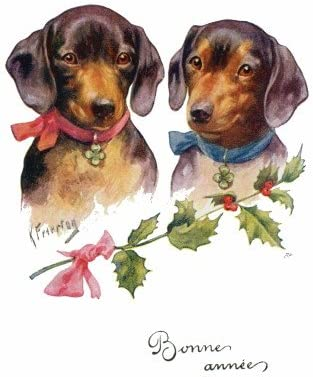 DACHSHUND AND HOLLY PACK OF 4 CARDS DOG PRINT GREETING CHRISTMAS CARDS