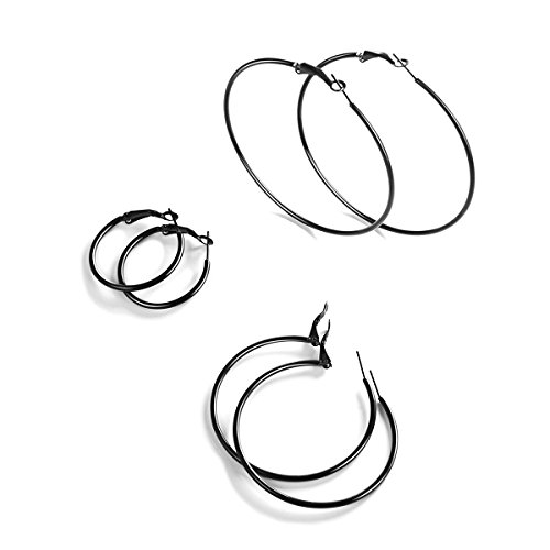 (FOCALOOK 3 Pairs Hoop Earrings Surgical Stainless Steel Huggie Full Circle Round Endless Hollow Thin Hypoallergenic Hoops Earrings Set Gifts for Women Men Girls Boys (30mm,50,70mm. Black Gun Plated))