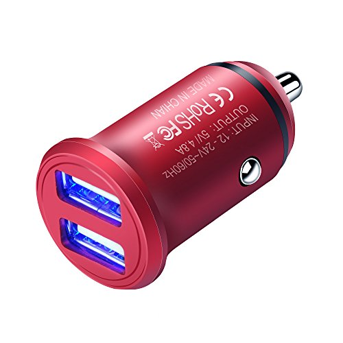 Red Car Charger Adapter, Ailkin Dual Port 4.8A Output Fast Charging Vehicle Car Power Adapter Compatible With iPhone X/8/7/Plus, iPad Pro/Air 2/mini, Samsung Galaxy Note 9/S9/Note8/S8/S7/J7/J3/S6, HTC