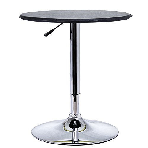 HOMCOM 25'' Classic Round Adjustable PU Leather Top Chrome Standing Bistro Bar Table by HOMCOM