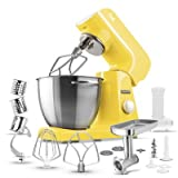 yellow kitchen aid mixer - Sencor STM46YL Full Metal 500W Stand Mixer with Variable Speed Control and 6 Specialized Attachments, 4.75 Qt, Sunflower Yellow