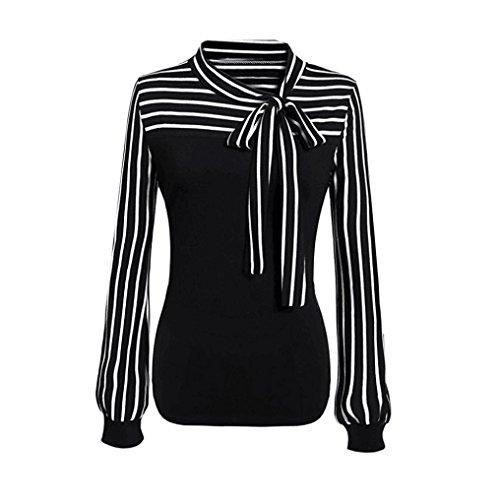 HOT SALE, AIMTOPPY Women Tie-Bow Neck Striped Long Sleeve Splicing Shirt Blouse (L, (Striped Vintage Sport Shirt)