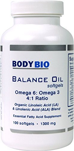 BodyBio Balance Oil, Safflower and Flax Seed Oil Blend, 4:1 LA to ALA, 100 Softgels