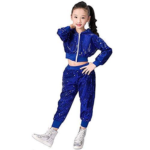 Children Girls Sequins Hip hop Costume Hiphop Dance Clothing Set (Blue, 16)