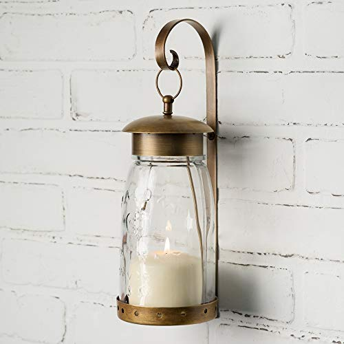 Attractive and Graceful Quart Mason Jar Metal Hanging Wall Sconce, Candle Lantern - Antique Brass Candle Holder with Clear Glass, Rustic Indoor/Outdoor Light for Your Home Decor (Brass For Candles Lanterns)