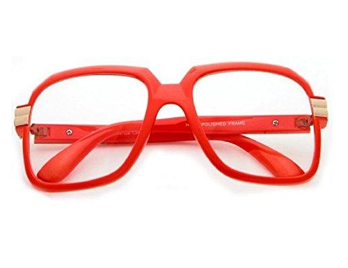 Gazelle Emcee Oversized Square Sunglasses w/ Clear Lenses (Bright Orange & Gold Frame, - Gold Orange