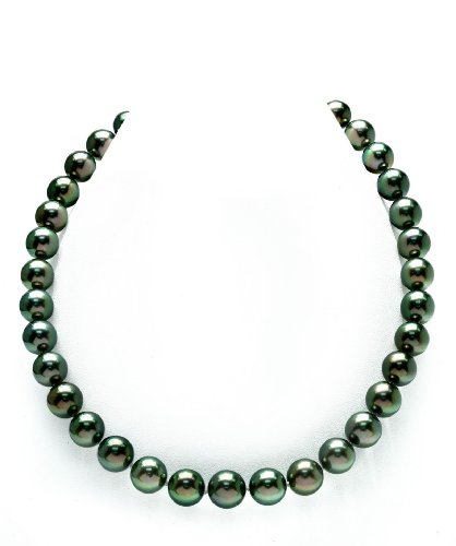 Pearl Sea South Round Green (THE PEARL SOURCE 14K Gold 9-11mm AAAA Quality Round Genuine Peacock Green Tahitian South Sea Cultured Pearl Necklace in 18