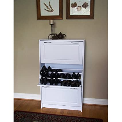 Ordinaire Deluxe Triple Door Shoe Cabinet In White   36 Pairs
