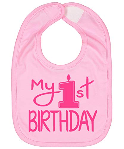 Handmade Cute Baby Boy Girl First Birthday Smash Cake Bibs - My 1st Birthday Bib (Pink Pink)