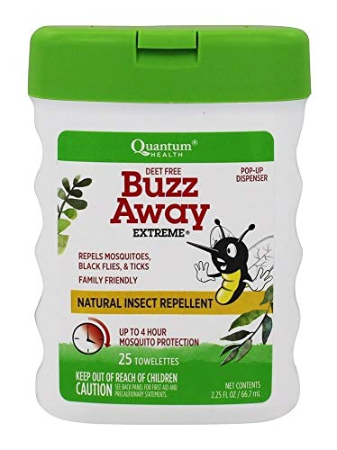 Extreme Towelettes - Quantum Buzz Away Extreme Repellent Pop-Up Towelette Dispenser - 25 Towelettes