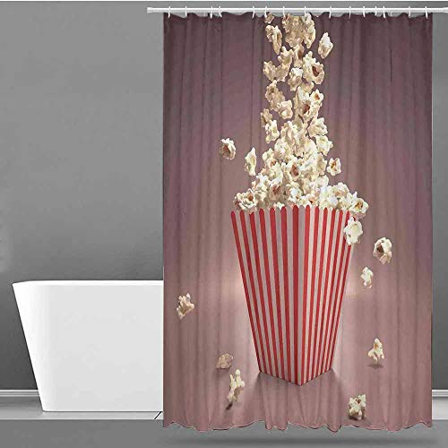 VIVIDX Polyester Shower Curtain,Modern,Retro Style Popcorn Art Image Home Cafe Design Kitchenware Cardboard Vintage Cinema,Fashionable Pattern,W48x84L Light Red White